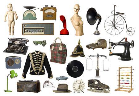 muneca vintage: Collage de Vintage productos aislados sobre fondo blanco