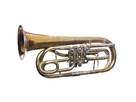 blaasinstrument: Versleten wind instrument geïsoleerd op witte achtergrond Stockfoto