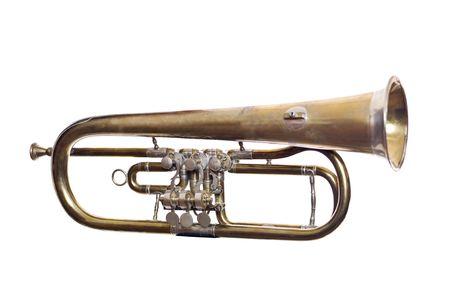 blaasinstrument: Versleten blaas instrument geïsoleerd op witte achtergrond Stockfoto