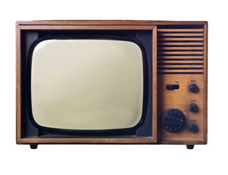 Vintage television isolated on white background photo