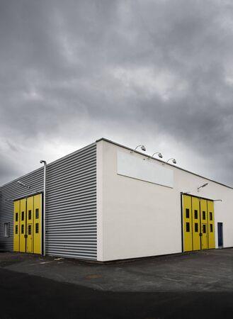 empty warehouse: Warehouse at dusk
