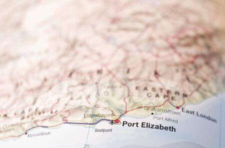 apartheid: Map of Port Elizabeth in South Africa