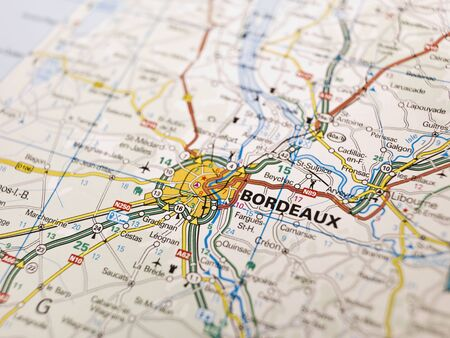 Map of Bordeaux in France photo