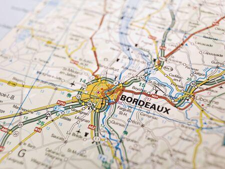 regions: Map of Bordeaux in France