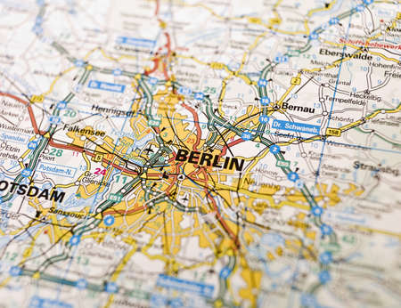 east of germany: Map of Berlin in Germany Stock Photo