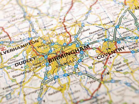 Map of Birmingham in England Stock Photo
