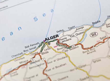 alger: Mappa di Algeri, Algeria Archivio Fotografico