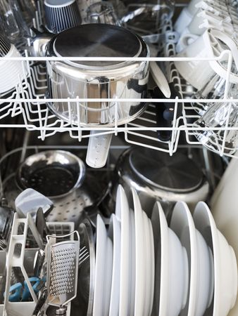 hygien: Dishwasher with clean gods Stock Photo
