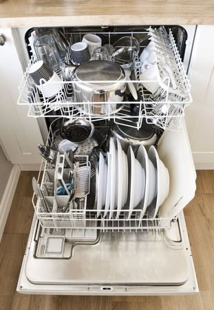 hygien: Dishwasher with clean goods Stock Photo