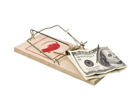 Mousetrap with dollars isolated on white background Stock Photo - 6827844
