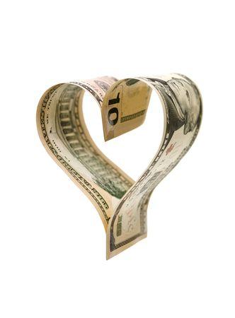 Heartshaped money isolated on white background Stock Photo - 6827831