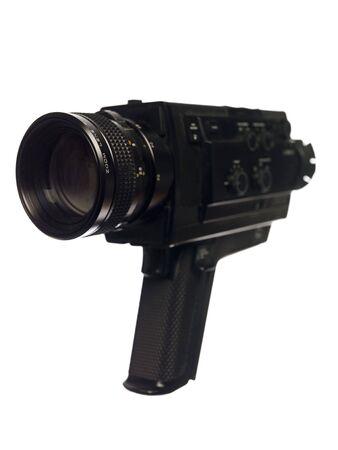 16mm: Vintage Movie Camera isolated on white Background Stock Photo