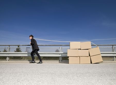 Man with Moving Boxes outdoor Stock Photo - 6827846