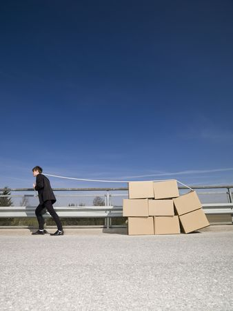 Man with Moving Boxes Outdoor photo
