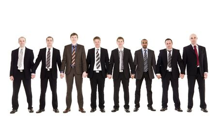 Group of businessmen in a row holding hands photo
