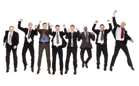 jumping businessman: Group of jumping businessmen isolated on white background Stock Photo