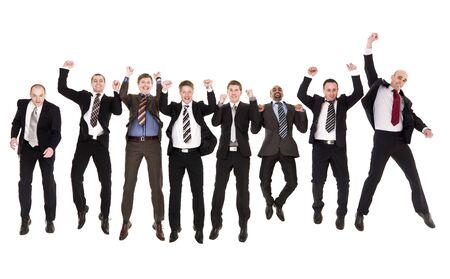 persona saltando: Grupo de saltar empresarios aislados sobre fondo blanco  Foto de archivo