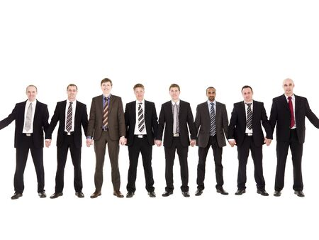 Businessmen in a row holding hands isolated on white background photo