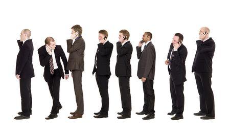 hilera: Empresarios en el tel�fono aislados sobre fondo blanco