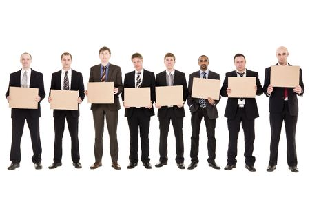 Men in a row holding signs isolated on white background photo