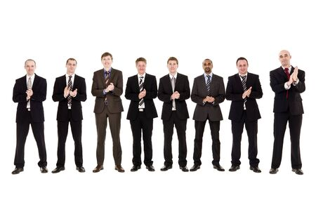 Group of men clapping hands isolated on white background Stock Photo - 6877914