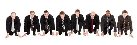 Businessmen in start position isolated on white background Stock Photo - 6877939