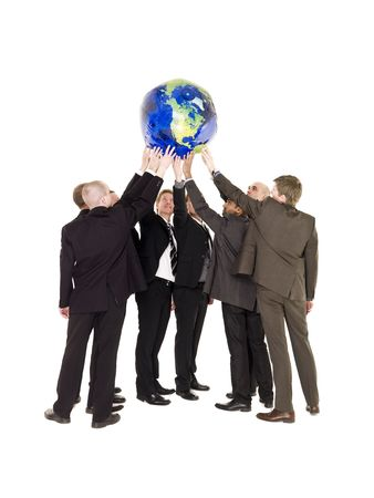 terrestrial globe: Group of men holding a terrestrial globe isolated on white background