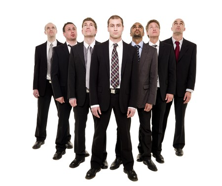 Confident business team isolated on white background photo