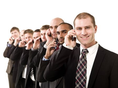 Group of business men on the phone isolated on white background photo
