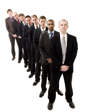 Businessmen on a line isolated on white background Stock Photo - 6878036