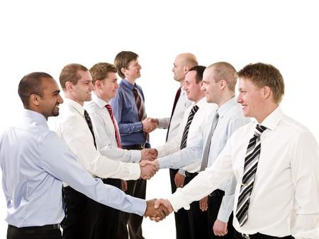 grupo de hombres: Empresarios agitando las manos aisladas sobre fondo blanco  Foto de archivo