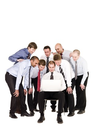 Group of businessmen in front of a laptop isolated on white background Stock Photo - 6878027