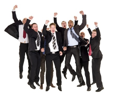 Group of happy businessmen jumping photo