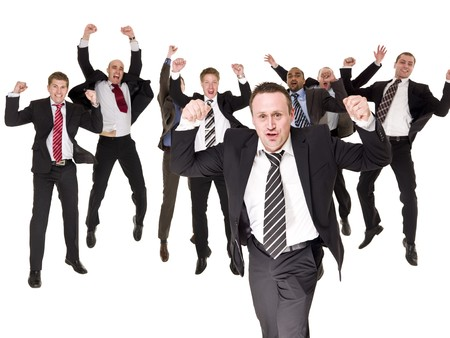 Group of happy businessmen isolated on white background photo