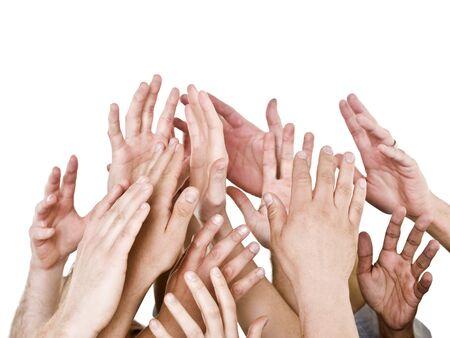 Manos arriba aislado sobre fondo blanco