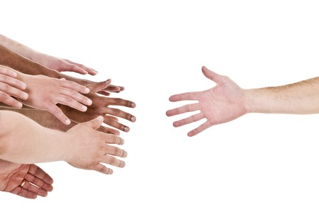 Hand reaching out for help isolated on white background Stock Photo - 7039534