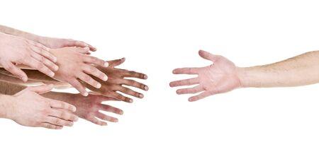 ayudando: Mano tender la mano para obtener ayuda aislado sobre fondo blanco  Foto de archivo