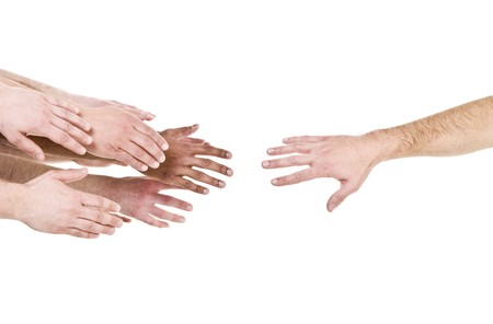 Hand reaching out for help isolated on white background photo