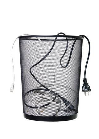 wastebasket: Electrical wires in a wastebasket isolated on white background Stock Photo