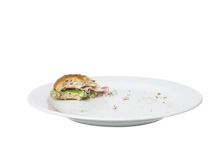almost: Almost eaten Sandwich on a plate isolated on white background