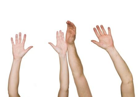 Raised Hands isolated on white background photo