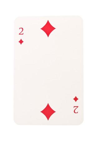 Two of Diamonds isolated on white background photo