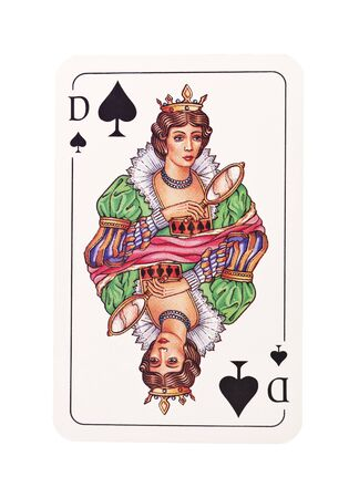 Queen of spades isolated on white background
