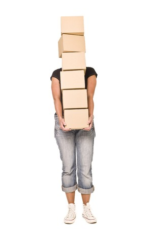 Woman carrying stack of Cardboard boxes isolated on white background Stock Photo - 7570683