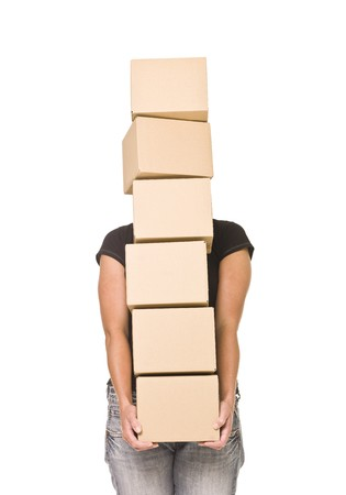 Woman carrying cardboard boxes isolated on white background photo