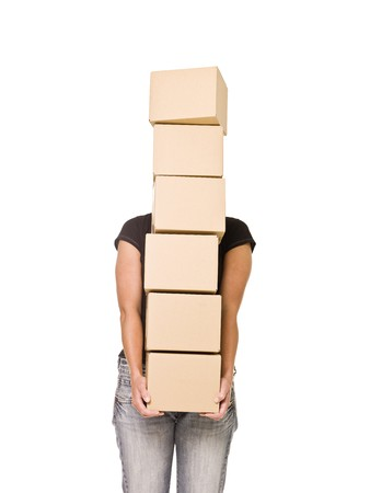 Woman carrying Cardboard Boxes isolated on white background Stock Photo - 7570801