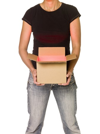 Woman holding a heavy Cardboard Box isolated on white background Stock Photo - 7570790