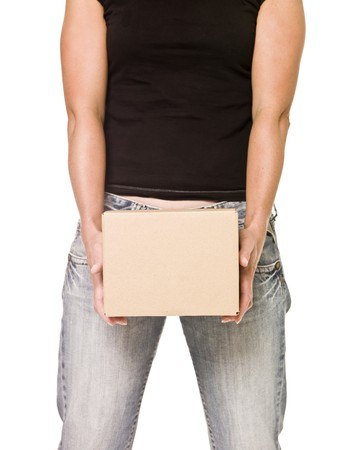Woman holding a heavy cardboard box isolated on white background Stock Photo - 7570896