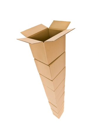Tower of Cardboard Boxes isolated on white background Stock Photo - 7570690