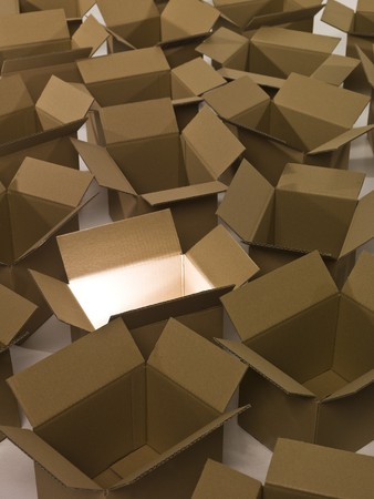 Heap of packages with light in one cardboard box photo